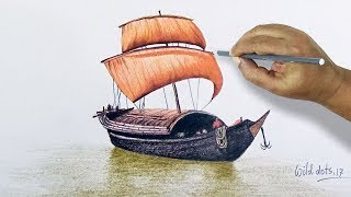 How To Draw Sailing Boat With Simple Colored Pencils   Easy And Simple Steps  