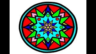 Let's Draw and Paint Mandala Kids! Let's Learn Colors! Little Kids Channel #LearnColors
