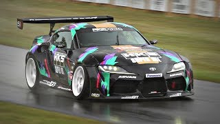Toyota GR Supra A90 with 2JZ Engine Swap by HKS | Drifts, Donuts & TURBO Sounds @ FoS Goodwood