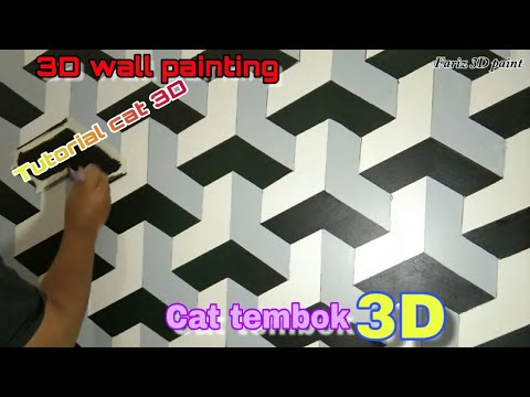 Tutorial Cat Dinding 3 Dimensi Simple 3d Wall Painting Cat Tembok 3d Unik Motif Balok Youtube