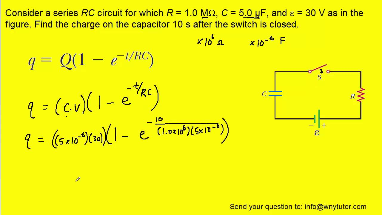Consider A Series Rc Circuit For Which R 10 M C 50 F And Figure 3 Simple Lowpass With Source Voltage 30 V As In The