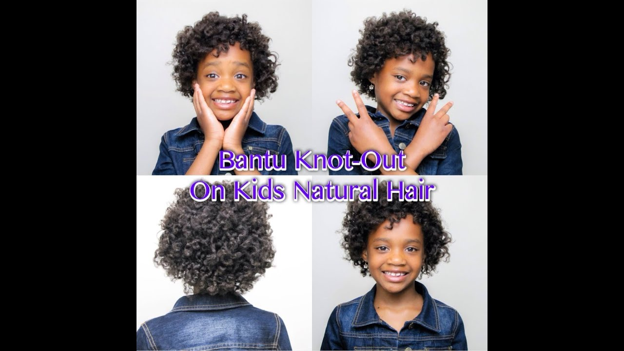bantu knot-out on kids natural hair - youtube
