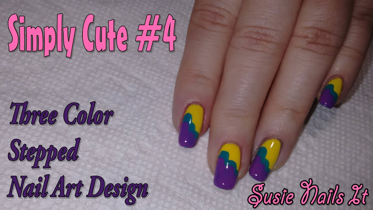 Simply Cute 4 3 Color Stepped Easy Nail Art Design Youtube
