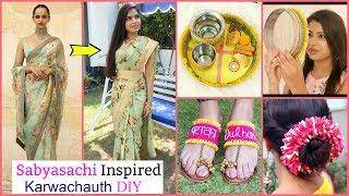 Sabyasachi Inspired DIY Sari, Puja Thali, Gajra & Sandals for Karwa Chauth | #Anaysa #DIYQueen