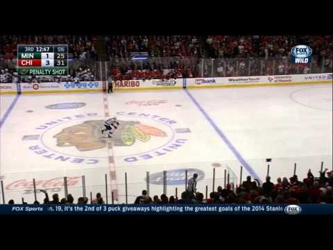 Nino Niederreiter Penalty Shot Goal vs Blackhawks 12/16/14