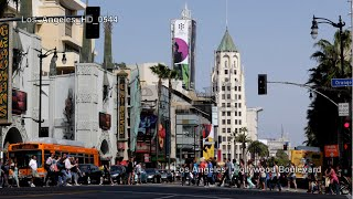 UHD Ultra HD 4K Video Stock Footage Los Angeles Hollywood Boulevard Traffic Walk Of Fame Sightseeing