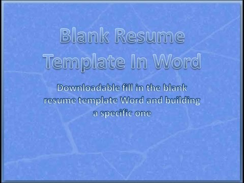 Blank Resume Template In Word For Beginner To Download Youtube