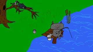 ворона и кот на рыбалке