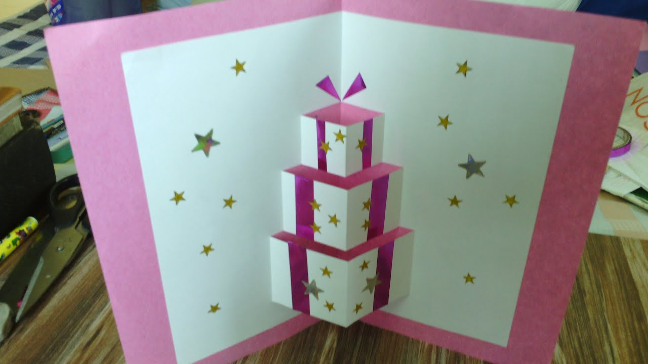 Popup Card Making Ideas Part - 15: Handmade Pop Up Card - YouTube