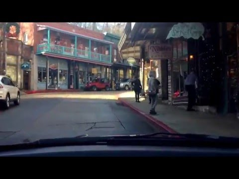 Driving into historic Eureka Springs, Arkansas.