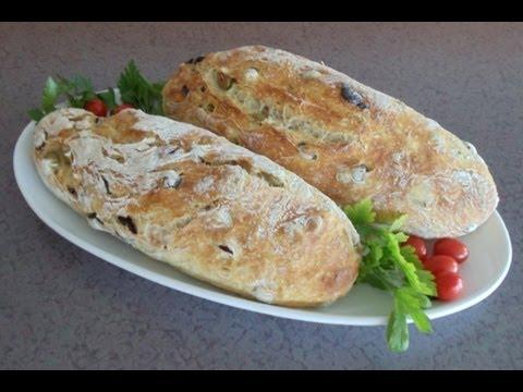 No-Knead Mediterranean Olive Bread (Easy... No Mixer... No Yeast Proofing)