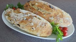 No-Knead Mediterranean Olive Bread (Easy... No Mixer... No Yeast Proofing)