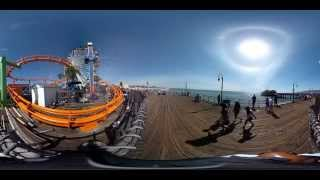 360 degree video check out the santa monica pier roller coaster ferris wheel and the ocean