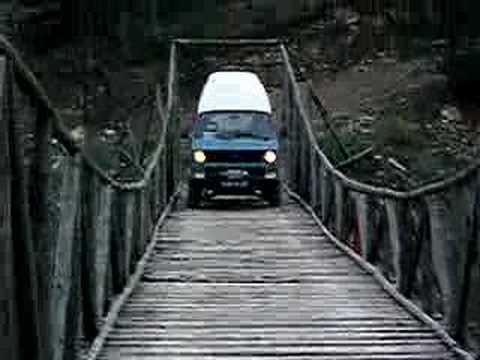 my syncro passing over a wooden bridge