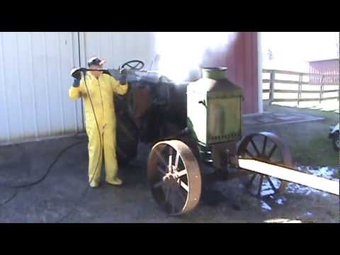 Pressure washing a antique Rumely OilPull tractor in the winter