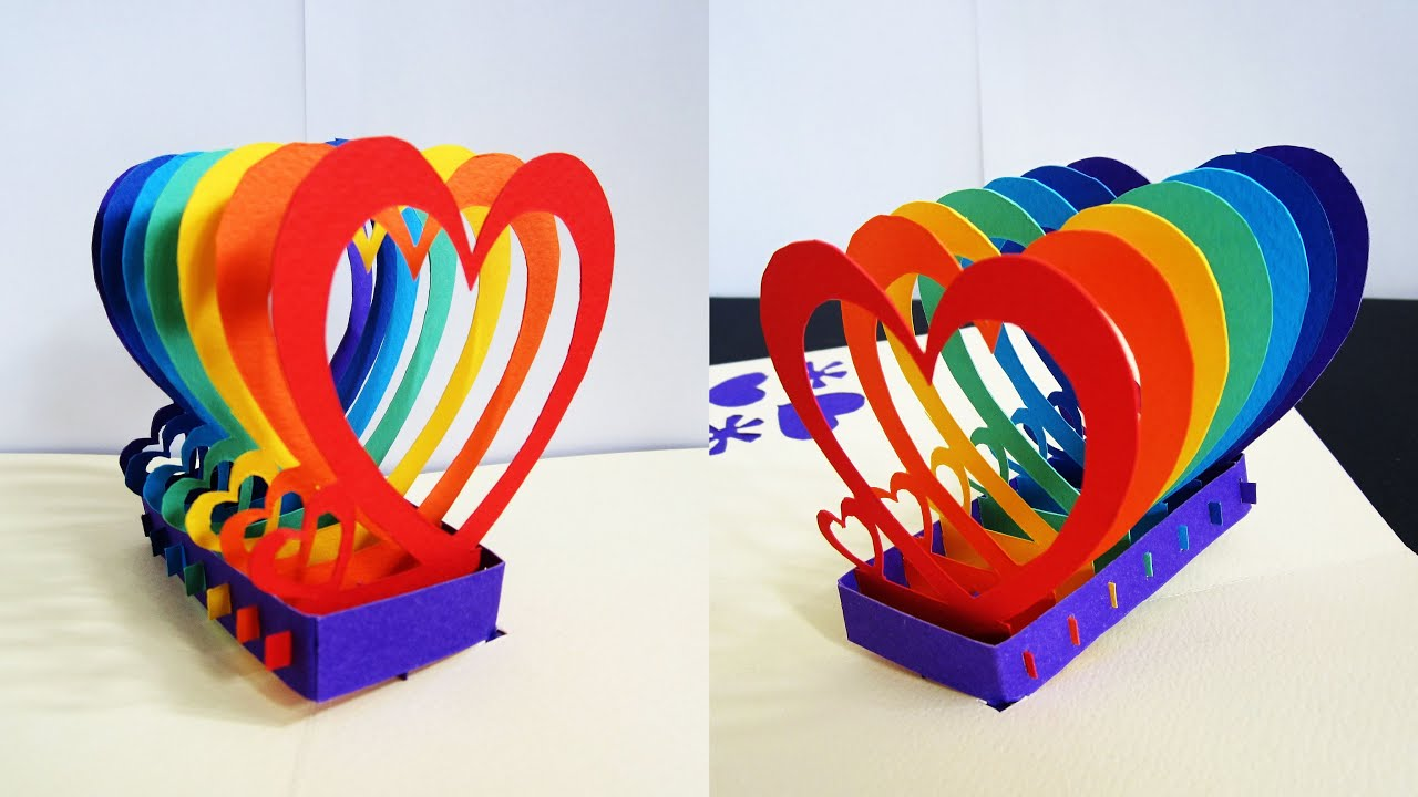 pop up card rainbow hearts  learn how to make a popup heart, Birthday card