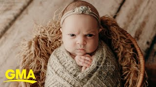 This baby is not feeling it during her newborn photo session | GMA Digital