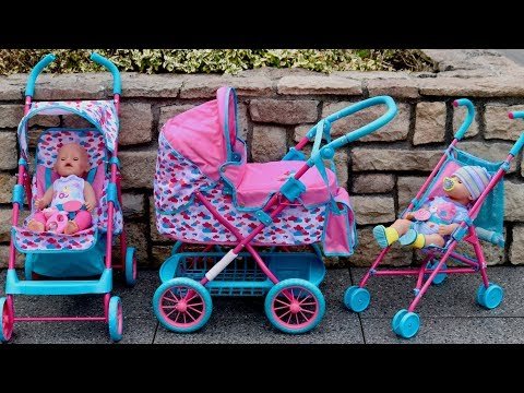 baby-born-dolls-pushchair-stroller-and-pram-unboxing-set-up-&-3-baby-born-dolls