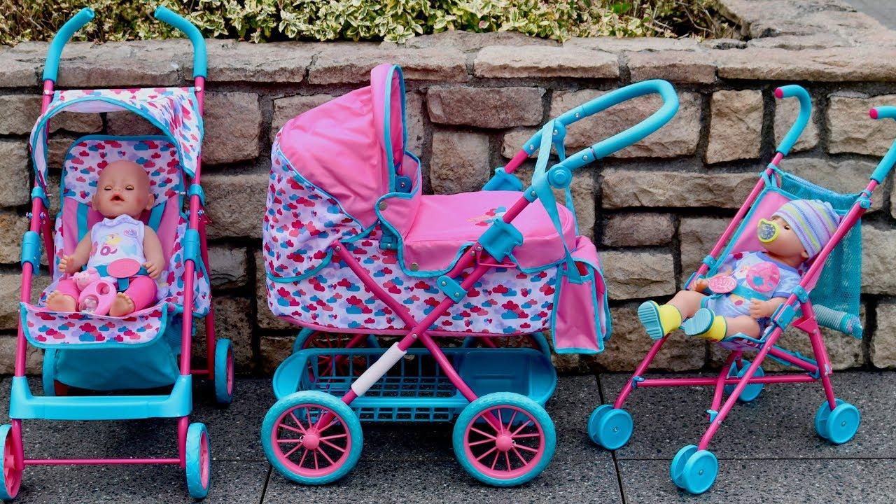 Baby Born Dolls Pushchair Stroller And Pram Unboxing Set