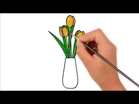 Vẽ Và Tô Màu Kim Tuyến Lọ Hoa Tulip | How to Draw Glitter Tulip – Vẽ Tranh Màu Kim Tuyến.