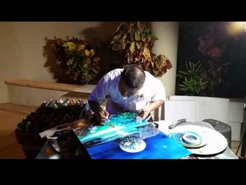 Underwater reef spray paint art