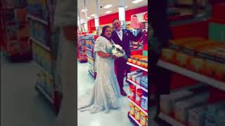 Target-obsessed bride stops the party bus for post-wedding photos at beloved store