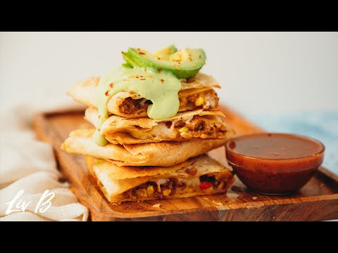 Vegan Sheet Pan Quesadillas with Avocado Lime Cream