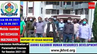 JKPCC Union staged protest at head office Srinagar Demands release pending wages.
