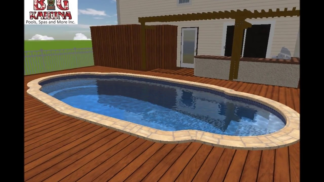 Fiberglass Pool With Ipe Wood Decking And Travertine Coping Youtube
