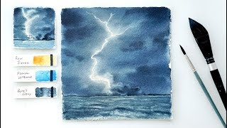 Lightning Storm. Step by step watercolor tutorial.