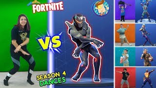 FORTNITE DANCE CHALLENGE in REAL LIFE 2 Season 4 Dances HYPE, ORANGE JUSTICE, GROOVE JAM POCORN