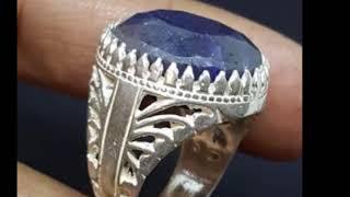 big handmade 925 sterling silver men ring natural genuine blue sapphire stone