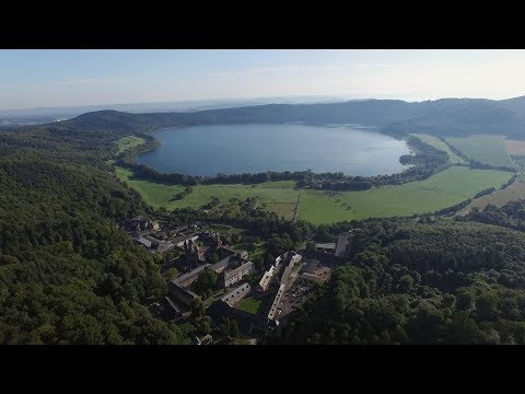 Aerials of Laacher See Volcano shot with drone