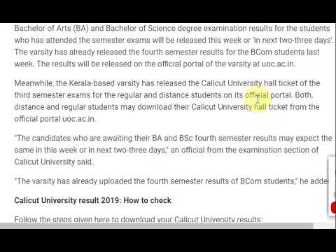 Calicut University Result For 4th Semester Degree Exams Soon