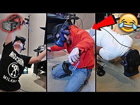 TEAM ALBOE TRIES VIRTUAL REALITY!! *HILARIOUS GAMEPLAY* | HTC VIVE
