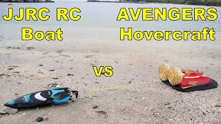 Avengers Endgame RC Hovercraft VS JJRC RC Boat (Pull Off Challenge) TUG of WAR