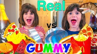 Kate & Lilly Real Food vs Gummy Food Challenge!