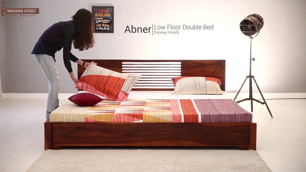 Double Bed- Buy Abner Low Floor Double Bed in Honey Finish ...