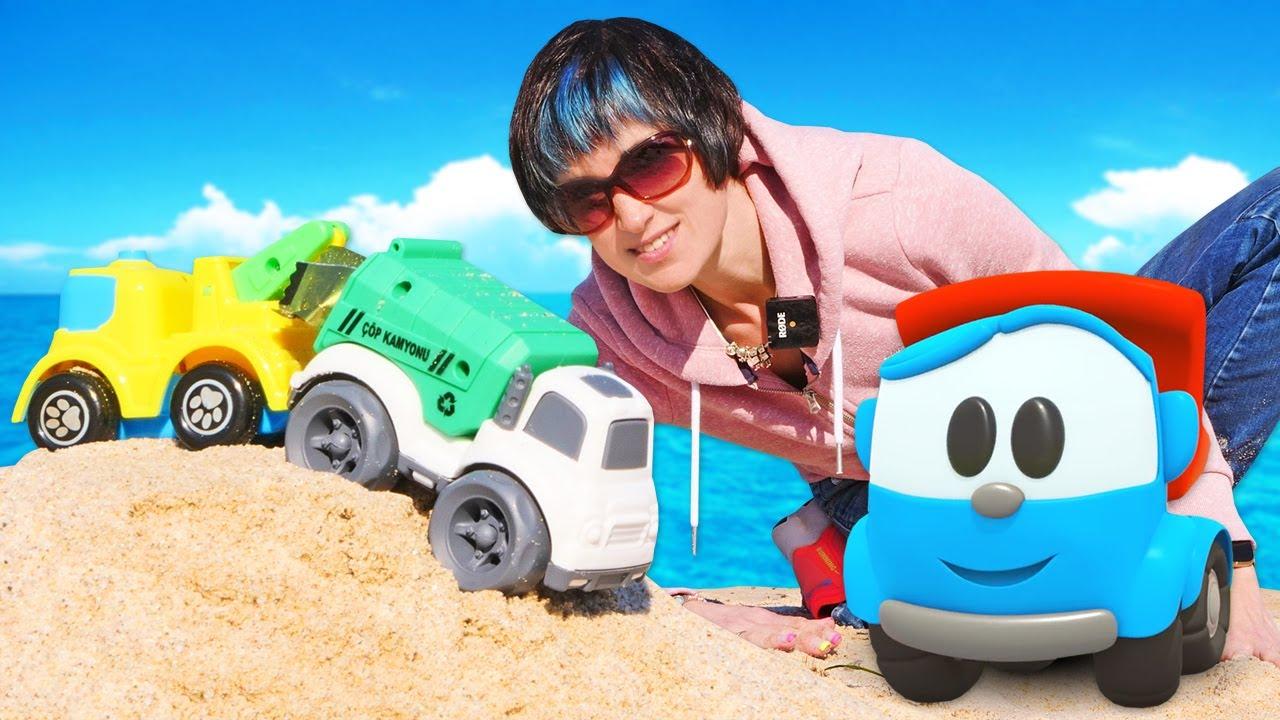 Мусоровоз, машинки и кран на пляже. Мультик Грузовичок Лёва - Весёлая школа Капуки Кануки
