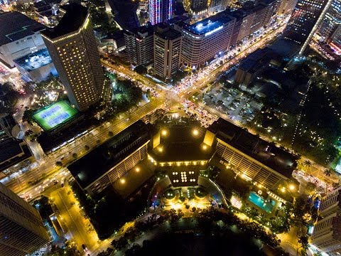 Manila Drone Video over Ayala Triangle MAKATI (Nielson Field) Night Flight. Festival of Lights