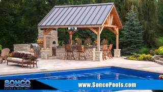Fiberglass Swimming Pool Rockford IL Sonco Pools and Spas Backyard Livingspace