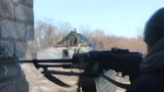 Война на Украине Реальный бой за Дебальцево Fight in Debaltseve working machine gunner Ukraine War