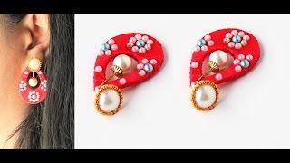 How to make simple and beautiful teardrop silk thread earrings/Tutorial
