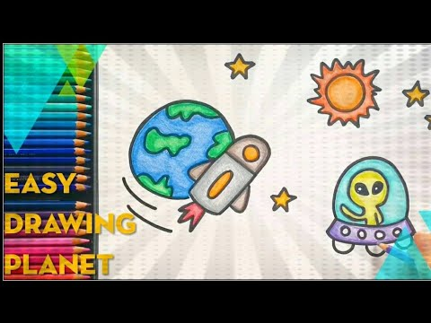 Download How To Draw Cute Alien Ufo On Planet Cartoon Ideas Easy