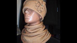 Шапочка и шарф- хомут на однофонтурной вязальной машине