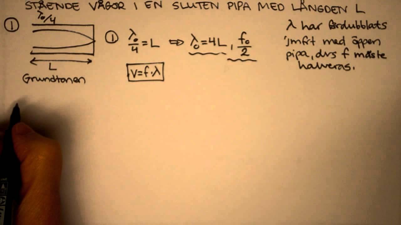 Fysik 2 Härledning av stående våg i en sluten pipa (passar till Heureka Kap 9 Vågor)