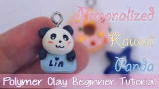 DIY Kawaii Panda - Personalized Necklace Charm ❤ Polymer Clay Beginner Tutorial ❤ Great Gift Idea(A beginner's tutorial on how to create a customized kawaii panda. I customized it with my name :D It is a great gift idea. Can be used as a necklace or bracelet ..., 2014-11-14T08:28:32.000Z)