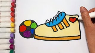 How To Draw A Shoes And Ball || Draw For Kids