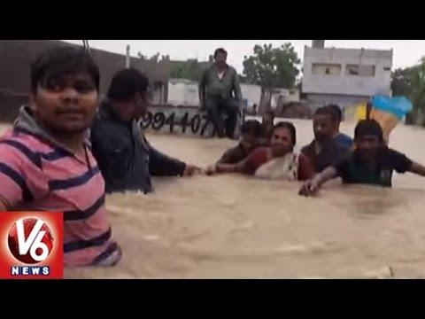Heavy Rain In Guntur And Prakasm District | Flood Water Logged In Colonies | V6 News