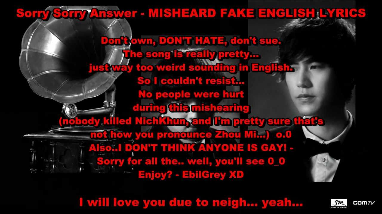 Super Junior Sorry Sorry Answer Misheard Buffalaxed English Lyrics - YouTube